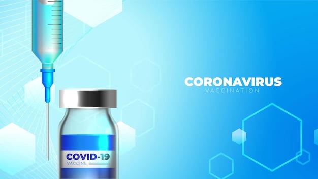Coronavirus background with vaccine bottle and syringe