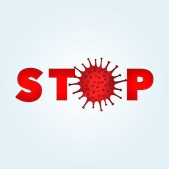 Коронавирусные бактерии. остановить иллюстрацию пандемии коронавируса.