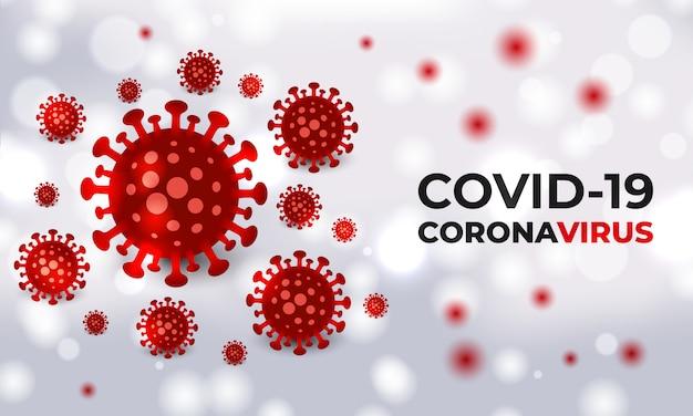 タイポグラフィと白い医療のベクトルの背景にコロナウイルスの細菌細胞。現実的なcovid19赤い色のウイルス細胞。