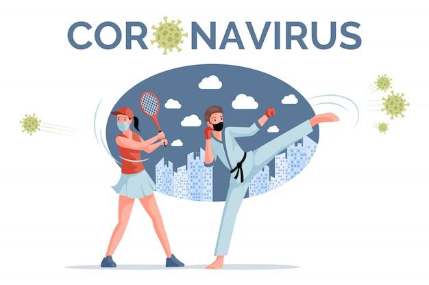 Coronavirus   banner template. sportsmen, tennis player and karate man fight against covid-19.