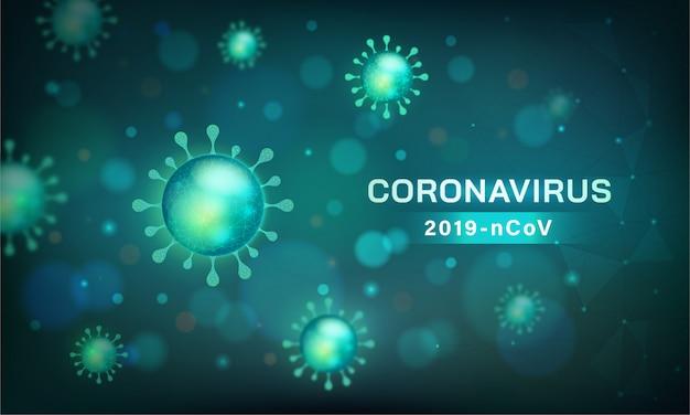 コロナウイルスのバナー。顕微鏡ビューでのウイルス細胞