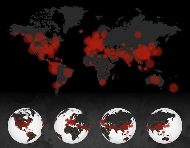 Случаи коронавируса на темной карте мира. земной шар с заболеванием covid-19. 4 сторона земли.