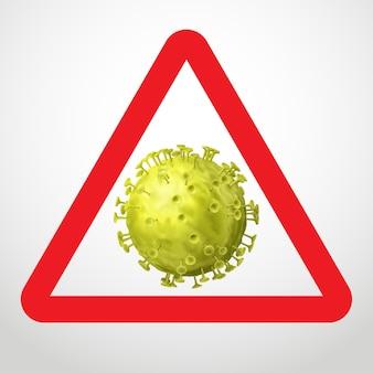 コロナウイルスの警告サイン。白い背景で隔離の赤い三角形のウイルスの黄色のシンボル
