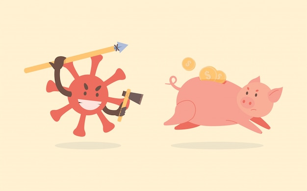 Coronavirus cell hunts and attacks the piggy bank. piggy bank run away from covid-19 cell flat illustration.