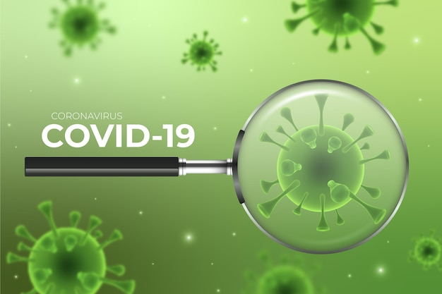 Coronavirus cell look through a magnifying glass background