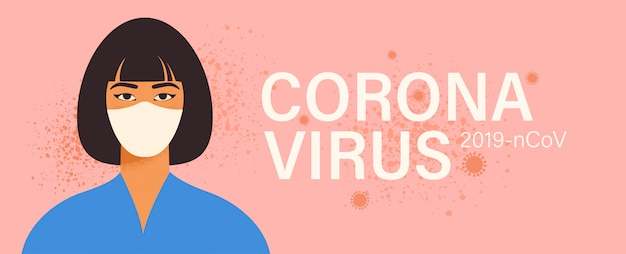 Coronavirus in china. woman in white medical face mask.