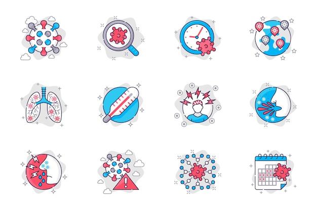 Набор иконок плоской линии концепции коронавируса вирусная инфекция и симптомы заболевания для мобильного приложения