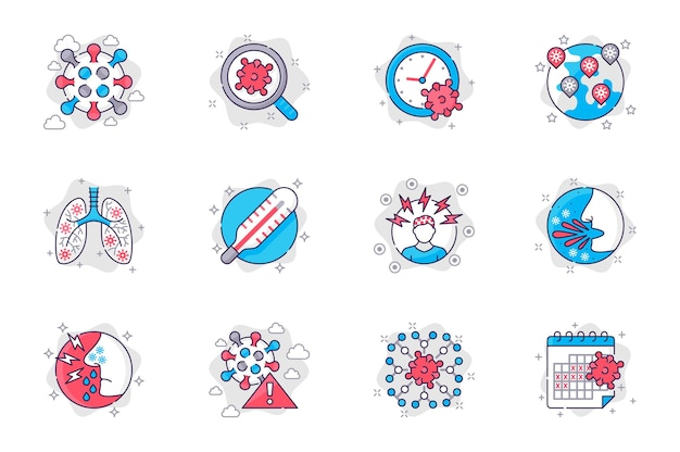 Coronavirus concept flat line icons set viral infection and symptoms of disease for mobile app