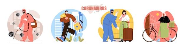 Набор сцен с концепцией коронавируса медицинский работник дезинфицирует уличные меры температуры карантин удаленной работы сбор действий людей
