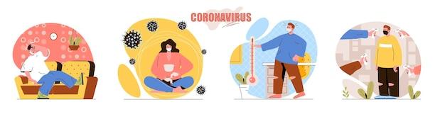 코로나 바이러스 개념 장면 설정 보호 마스크를 착용하는 사람들 발열은 질병의 증상입니다 covid19 인간 활동 수집