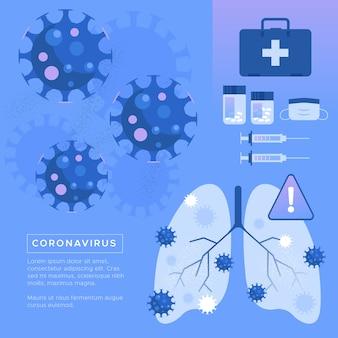 コロナウイルスの概念病気の肺