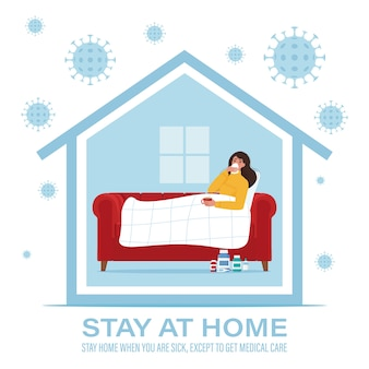 Coronavirus concept. stay at home during the coronavirus epidemic. stay home when you are sick.  illustration in flat style