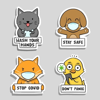 Coronavirus concept stickers collection with cute animals