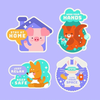 Coronavirus concept stickers with cute animals collection