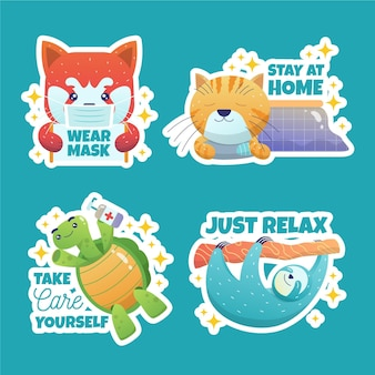 Набор стикеров с изображением коронавируса и милых животных