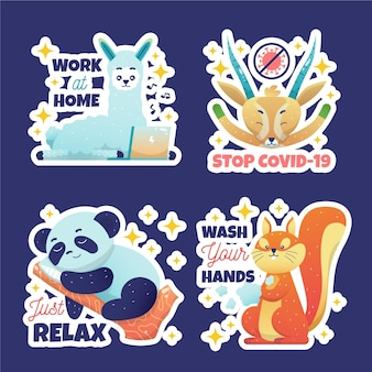 Coronavirus concept stickers with cute animals set