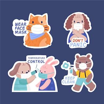 귀여운 동물들과 함께하는 코로나 바이러스 컨셉 스티커