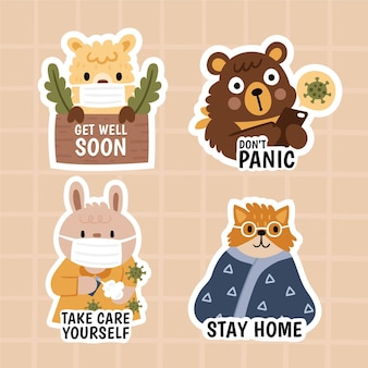 Coronavirus concept stickers with cute animals