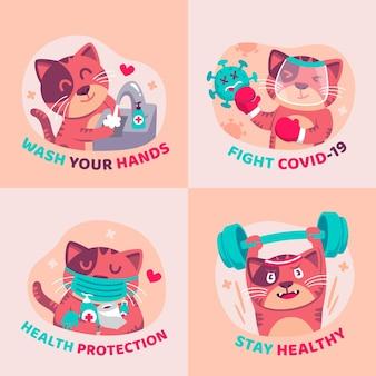 Наклейки с концепцией коронавируса с милыми животными