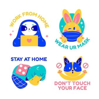 Coronavirus concept stickers with cute animals