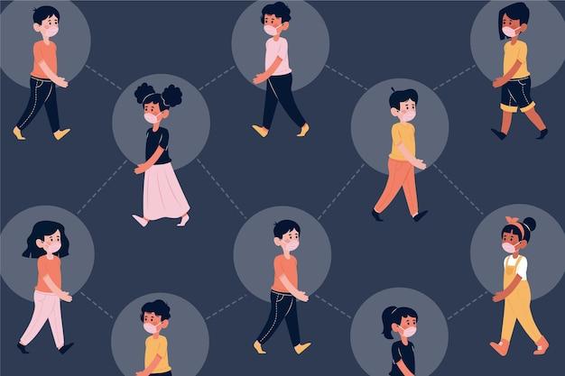 코로나 바이러스 접촉 추적 개념