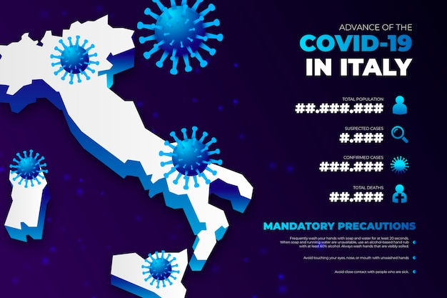 Coronavirus country map infographic for italy
