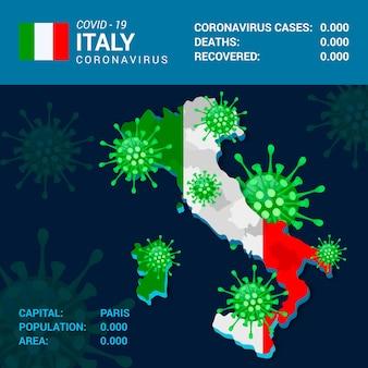 Mappa di coronavirus per paese infografica per l'italia