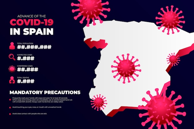 Coronavirus country map infographic for spain