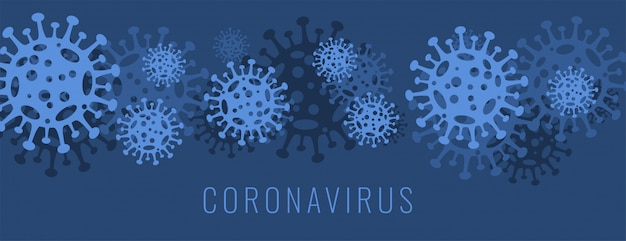 Coronavirus covid-19 banner with virus cell in blue color