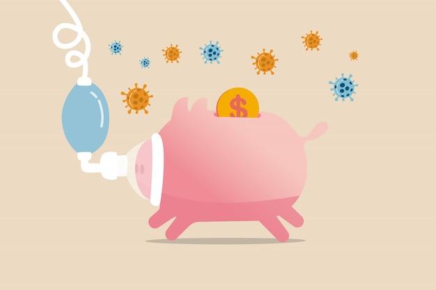 코로나 바이러스 covid-19 충돌로 인한 경제 불황, 코로나 바이러스 발발 개념의 글로벌 경제 비판적 영향, covid-19 바이러스 병원균이있는 인공 호흡기의 아픈 저금통.