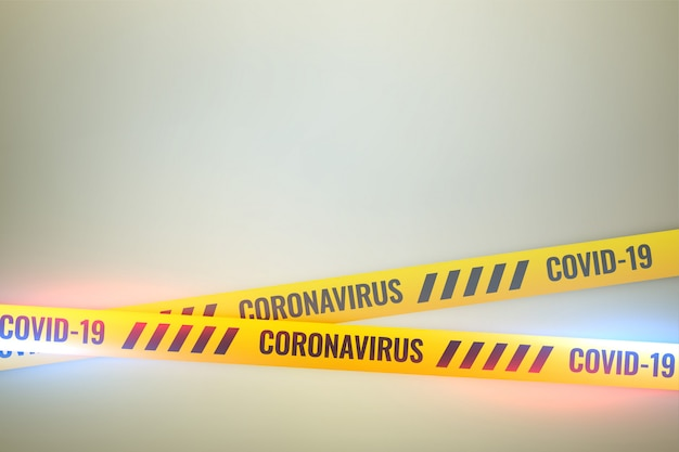 Coronavirus covid-19 do not cross yellow tape background
