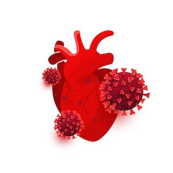 코로나 바이러스, covid 19 위험한 세포가 흰색 배경에 고립 된 심장 기관을 감염시킵니다.