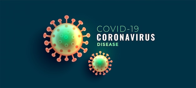 Coronavirus covid-19 disease banner with two viruses