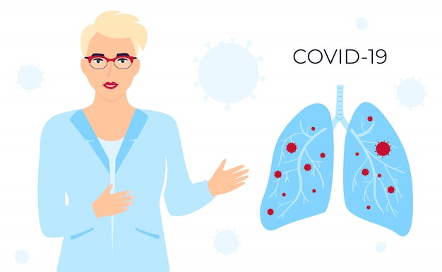 Coronavirus covid-19. a female doctor with glasses and a medical gown talks about the chinese virus. infected lungs. horizontal banner. symptoms. human sickness. colds and inflammation. pneumonia