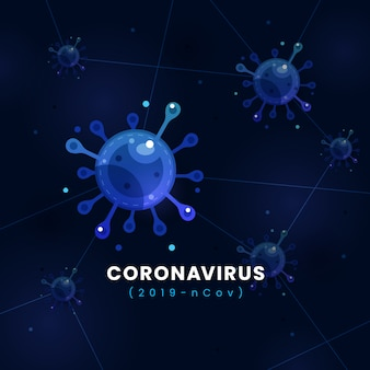 Coronavirus covid-19 infection concept microscopic vector illustration with dark blue modern futuristic background