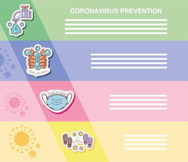 コロナウイルスcovid19、予防イラストステッカーアイコンを示すインフォグラフィック