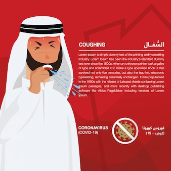 Coronavirus (covid-19) infographic showing signs & symptoms, illustrated sick arabic man. script in arabic means coronavirus signs and symptoms: coronavirus (covid-19) and coughing - vector