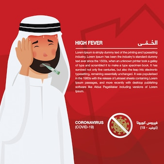 Coronavirus (covid-19) infographic showing signs & symptoms, illustrated sick arabic man. script in arabic means coronavirus signs and symptoms: coronavirus (covid-19) and shortness of breath - vsctor