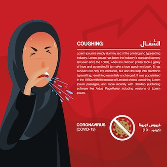 Coronavirus (covid-19) infographic showing signs & symptoms, illustrated sick arabic women. script in arabic means coronavirus signs and symptoms: coronavirus (covid-19) and coughing - vector