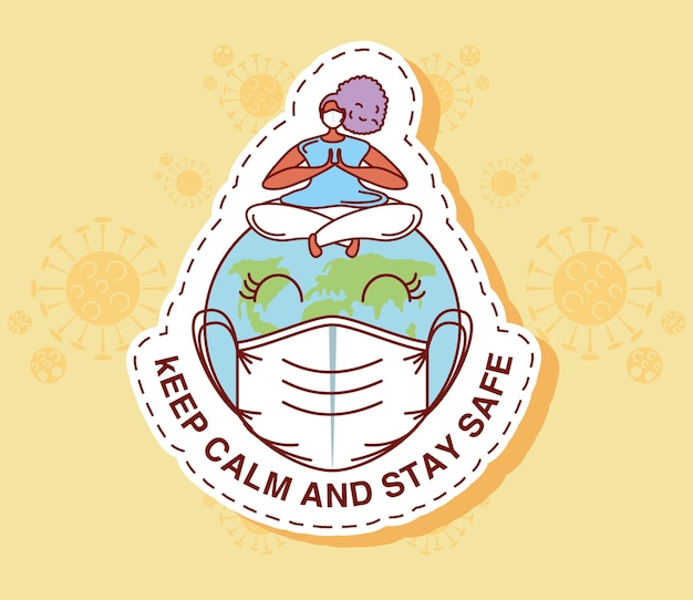 Coronavirus covid 19, keep calm and stay safe illustration sticker icon