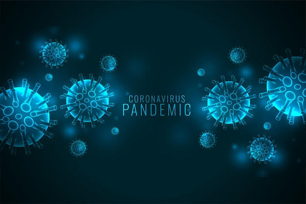 Coronavirus covid-19 pandemic banner with virus cells