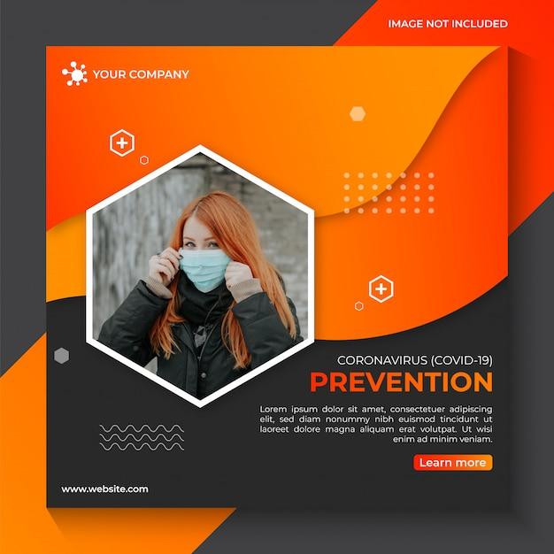 コロナウイルスcovid-19予防警告ソーシャルメディアバナーテンプレート