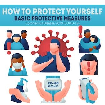 コロナウイルスcovid-19予防。保護対策の説明。インフォグラフィックバナー、フェイスマスクを着用、手を洗って、消毒します。国境を越えた多民族。