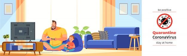 Коронавирус ковид-19, карантин мотивационный постер. отец и сын, играя в видеоигры в уютном доме во время коронавирусного кризиса. будьте позитивны и оставайтесь дома цитатой иллюстрации шаржа.