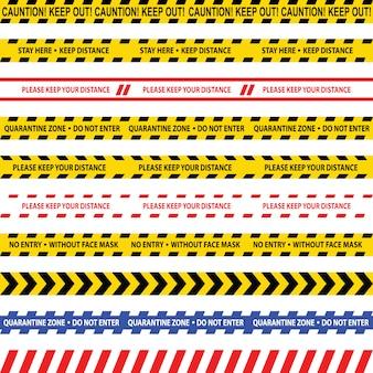 コロナウイルスcovid-19検疫警告テープ。注意バイオハザードはストライプを警告します。