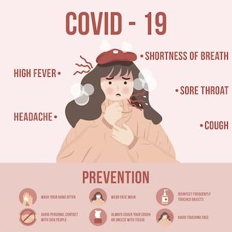 コロナウイルスcovid-19の症状と感染拡大を防ぐための予防概念図