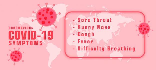 Coronavirus covid-19 symptons with virus spread bannerdesign