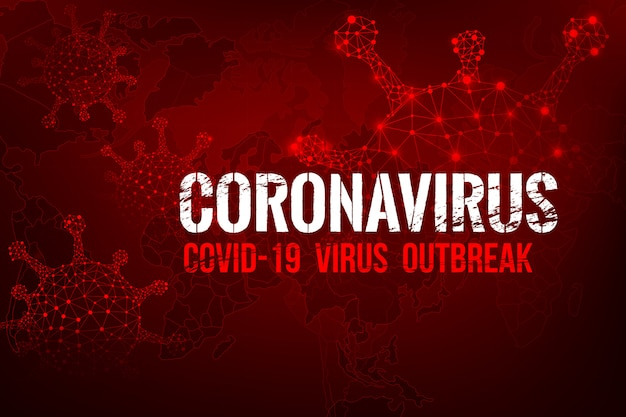 Coronavirus covid-19 text outbreak with the world map and hud