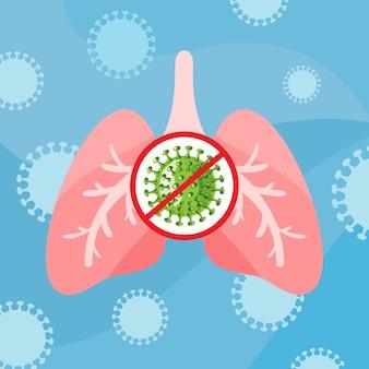 コロナウイルスcovid-19。ウイルスに感染した人間の肺。コロナウイルスと戦う。コロナウイルスの危険性