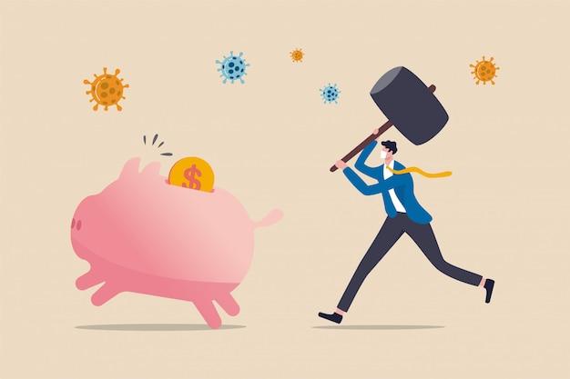 Долг в coronavirus кризис covid-19, у людей нет денег, чтобы заплатить за кредит и разориться, бизнесмен держит молоток, чтобы ударить копилку, деньги в виде долларовых монет с патогеном коронавируса.